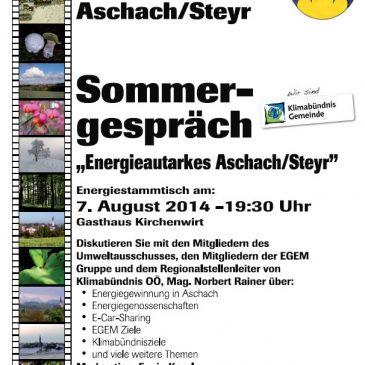 """Sommergespräch – """"Energieautarkes Aschach/Steyr"""""""